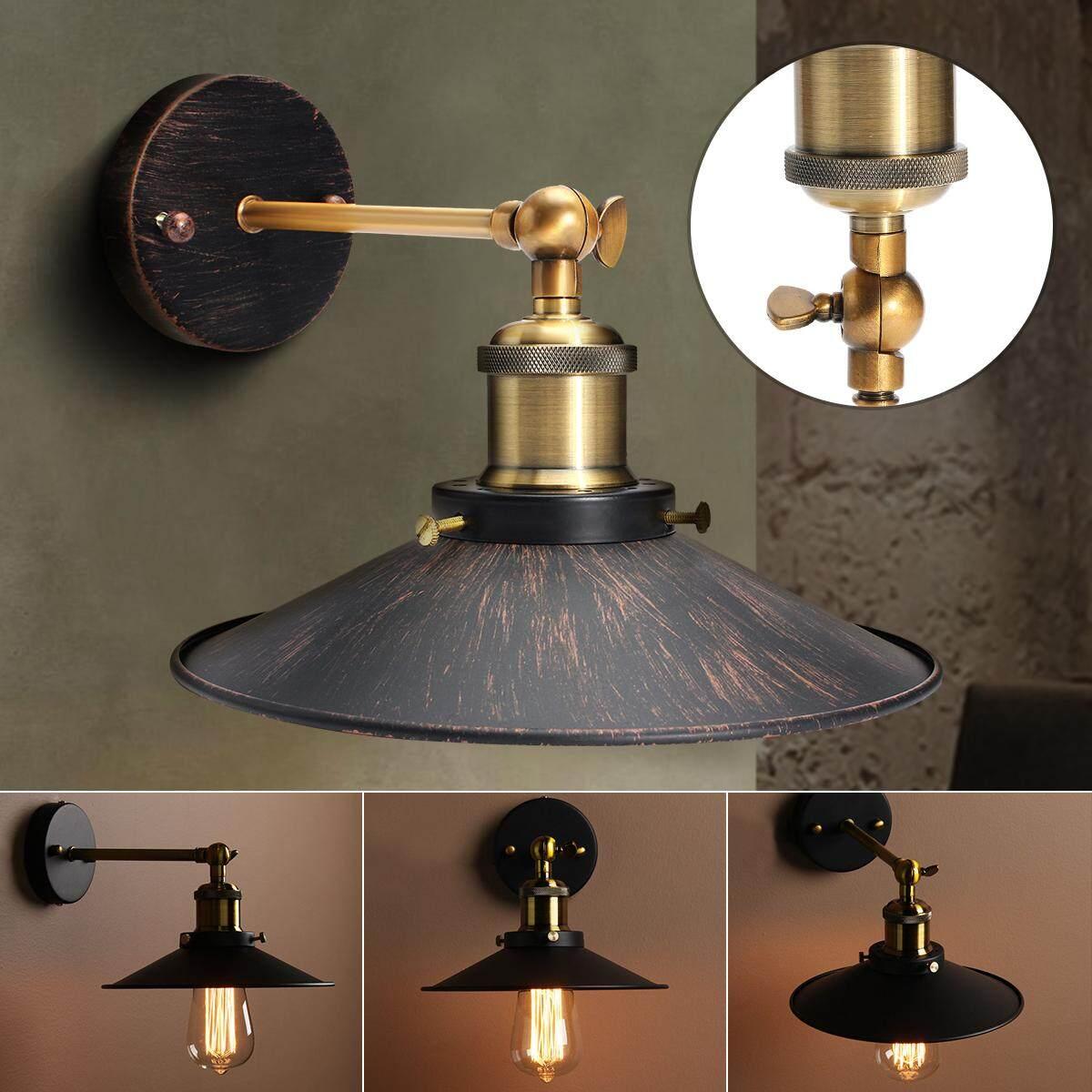 E27 Retro Metal Hanging Lampshade Edison Wall Light Sconce Lamp Holder Socket - intl