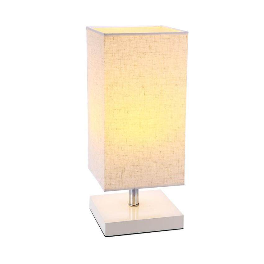 E27 E26 Socket Table Lamp Bedside Desk With Linen Fabric Shade And Wood