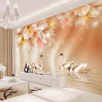 เป็นมิตรกับสิ่งแวดล้อม 3D โมเดิร์น swans Under ดอกไม้สำหรับโซฟาห้องทีวีห้องนอนห้องนั่งเล่นวอลเปเปอร์ภาพฝาผนังคริสต์มาสของขวัญ-
