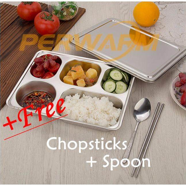 Sale Eco Lunchbox Stainless Steel Divided Lunch Food Serving Bento Box Tray Cover Not Specified Online