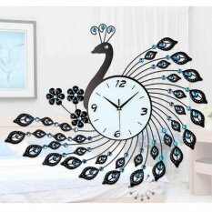OS European Aluminum Peacock Wall Clock Black