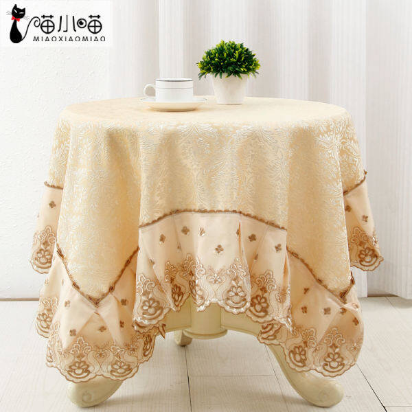 Deqi European high-grade round tablecloth custom pastoral cloth table tablecloth modern home big round