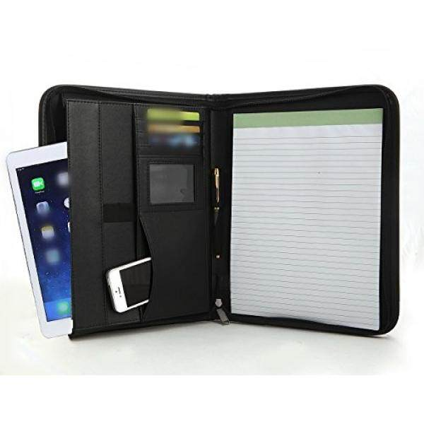 executive zippered portfolio binder rfid blocking sleeve professional folder leather notepad holder