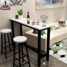 F&F : CIEL Living Room Simple Desk [BLACK  STEEL]  & 2x Chair Combination Coffee High Table Long Bar  with 1 Year Warranty / Set Meja Makan / Bar Set