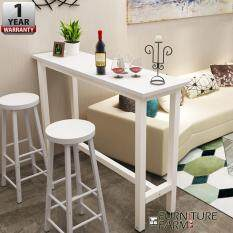F&F : CIEL Living Room Simple Desk [WHITE  STEEL]  & 2x Chair Combination Coffee High Table Long Bar with 1 Year Warranty