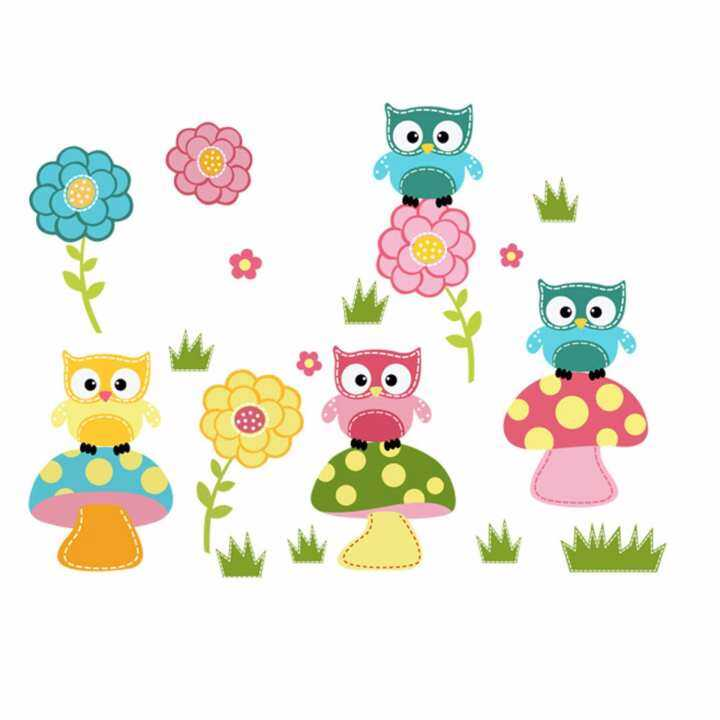Fancyqube DIY Wall Sticke Kids Child Room Decal Cartoon Cute Animal Owl Flower Mushroom Stickers Art Mural Decor Wallpaper