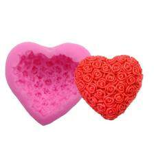 Fang Fang 3d Love Roses Heart-Shaped Silicone Mold Wedding Cupcake Baking Soap Mould By Fangfang_719.