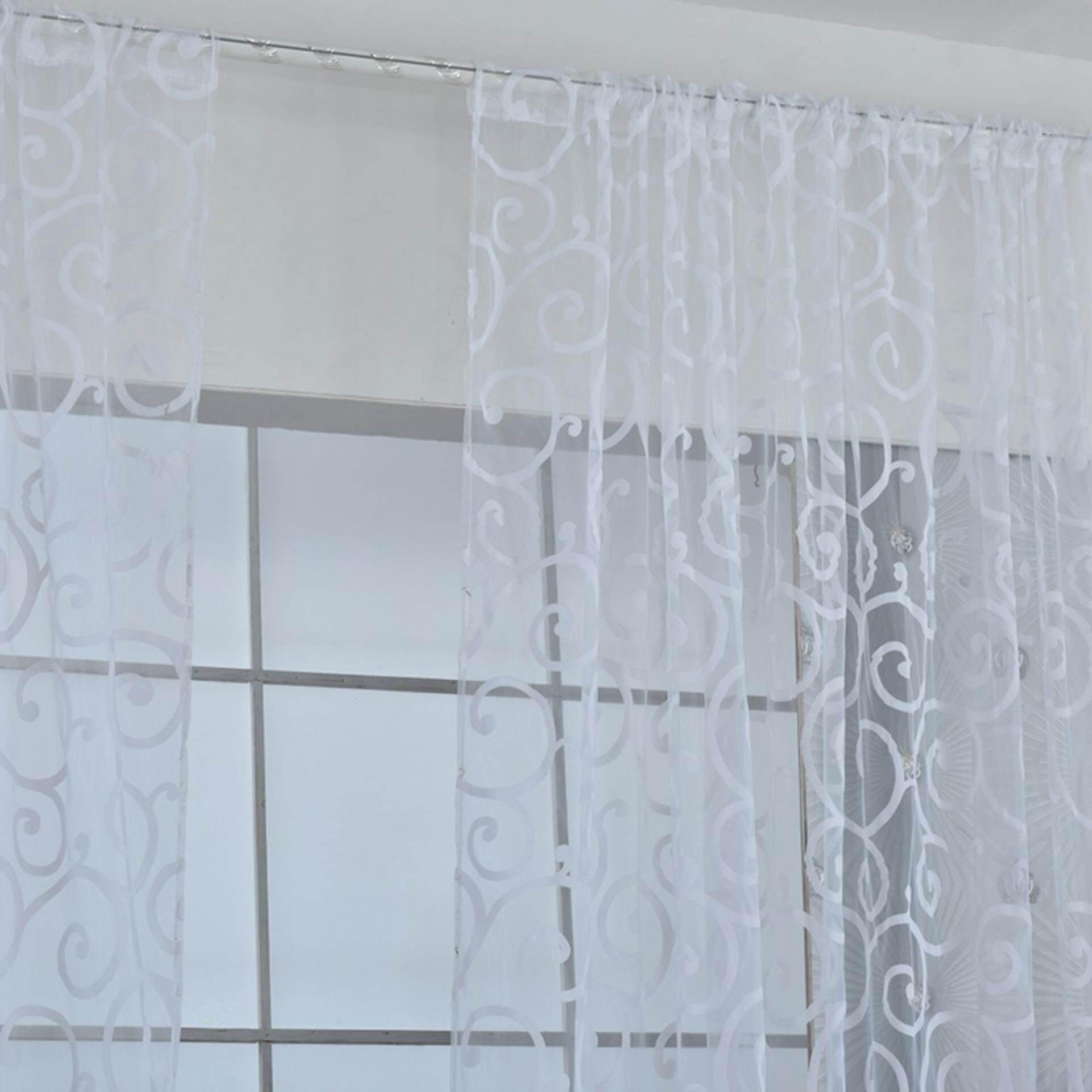 Fashion Bordir Layar Tirai Luxury Percetakan Flock Jendela Gorden Layar Putih 100*200 Cm-
