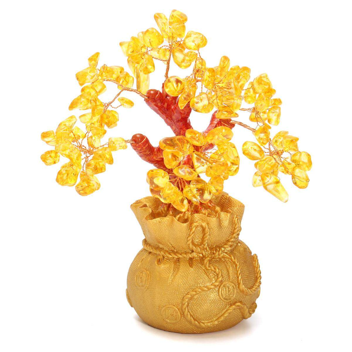 Review Feng Shui Wealth Lucky Citrine Yellow Crystal Gem Money Tree In Money Bag Pot Us Gold Intl Not Specified On China