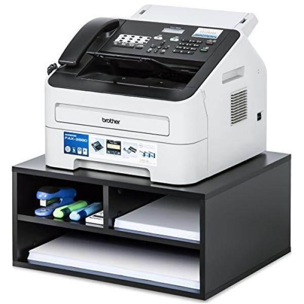 Fitueyes Kayu Dua-Tier Hitam Printer/Faks Berdiri Workspace Organizers, DO204701WB-G-Internasional