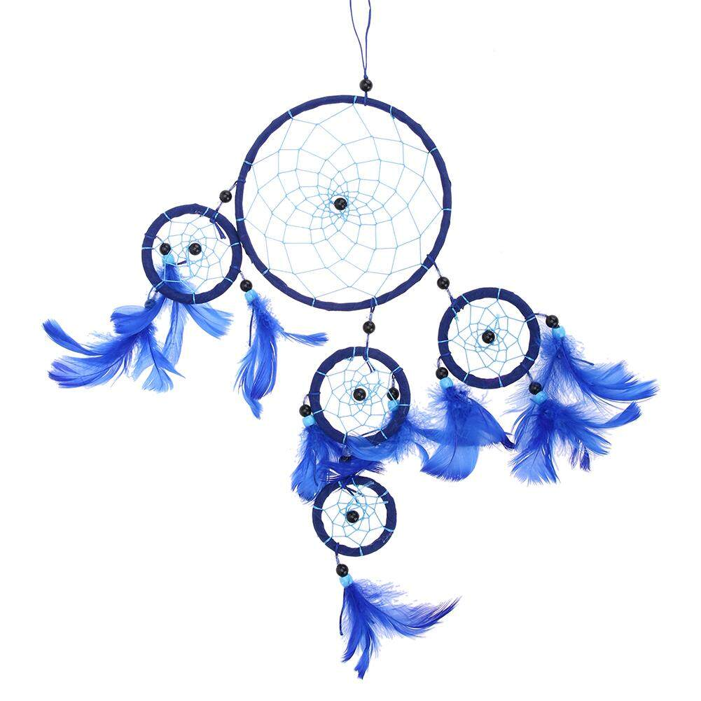 BAIGUAN WT Five-rings Deep Blue Dream Catcher Wall Hanging Decor Craft - intl