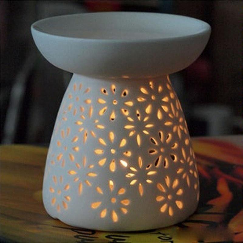 Flower Shape Hollow-out Ceramic Warmer Oil Burner Candle Holder Home Decor - intl