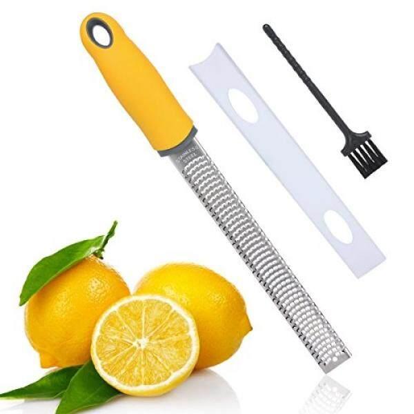 Flytt Anti Karat Jeruk Lemon Zester dan Keju Grater, Pisau Tajam dan Pegangan Ergonomis dengan Sarung Pelindung, sikat Pembersih Gratis, Brankas Pencuci Piring (Kuning)-Internasional