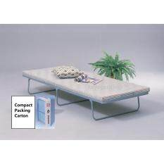 Foldable bed with FOAM mattress - unfold to use in a second - fold for easy storage - space saving folding metal steel bed