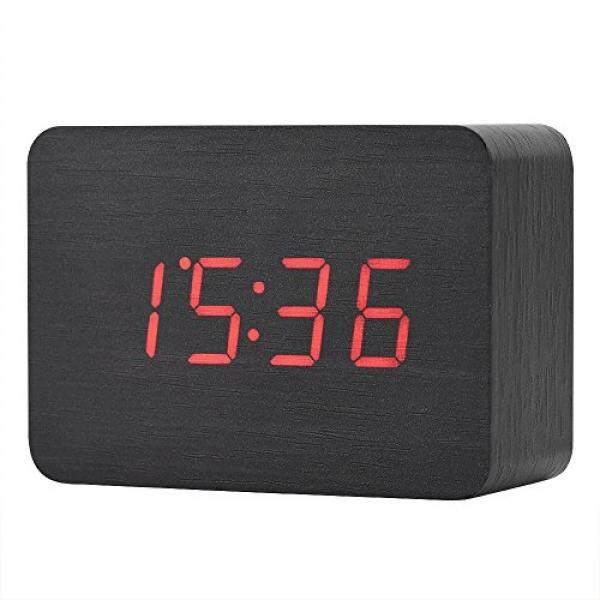Fosa Kayu Elektronik Digital Jam Alarm, LED Tampilan Waktu Tanggal dan Suhu dengan Suara Fungsi Kontrol dan Kecerahan Yang Dapat Disesuaikan Meja Tulis Alarm Jam Bagus untuk Anak-anak, rumah, Kantor, Kehidupan Sehari-hari (Hitam)-Internasional
