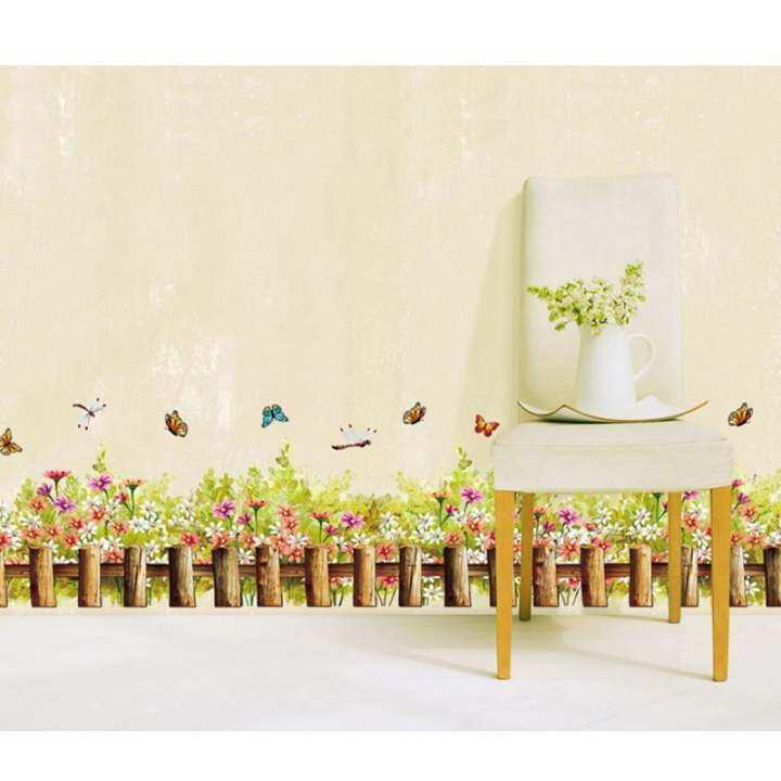 Fragrant Flowers And Colorful Butterfly Removable Wall Decal PVC Home Sticker House Decoration WallPaper Living Dinning Room Bedroom Kitchen Art Picture DIY Murals Girls Boys kids Nursery Baby Playroom Decor