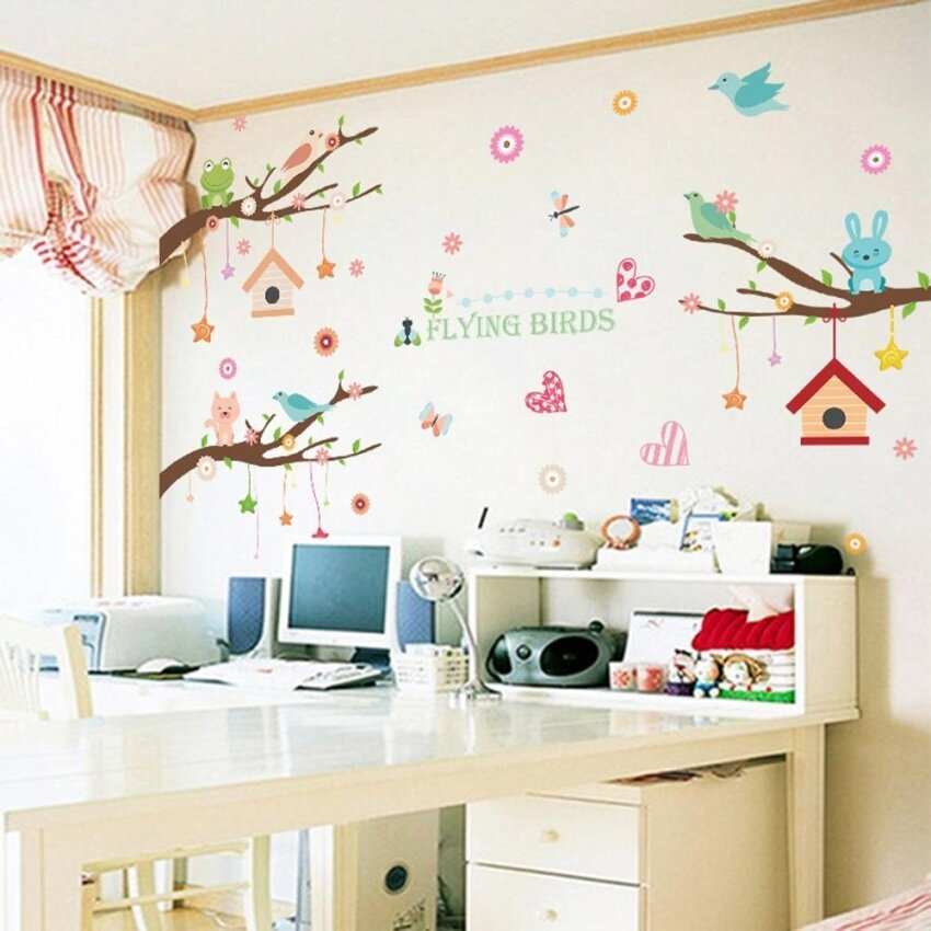 HUADE Cute Wall Sticker Removable Wallpaper Art Decal Roomdecoration  Reusable Peel And Stick Wall Sticker For