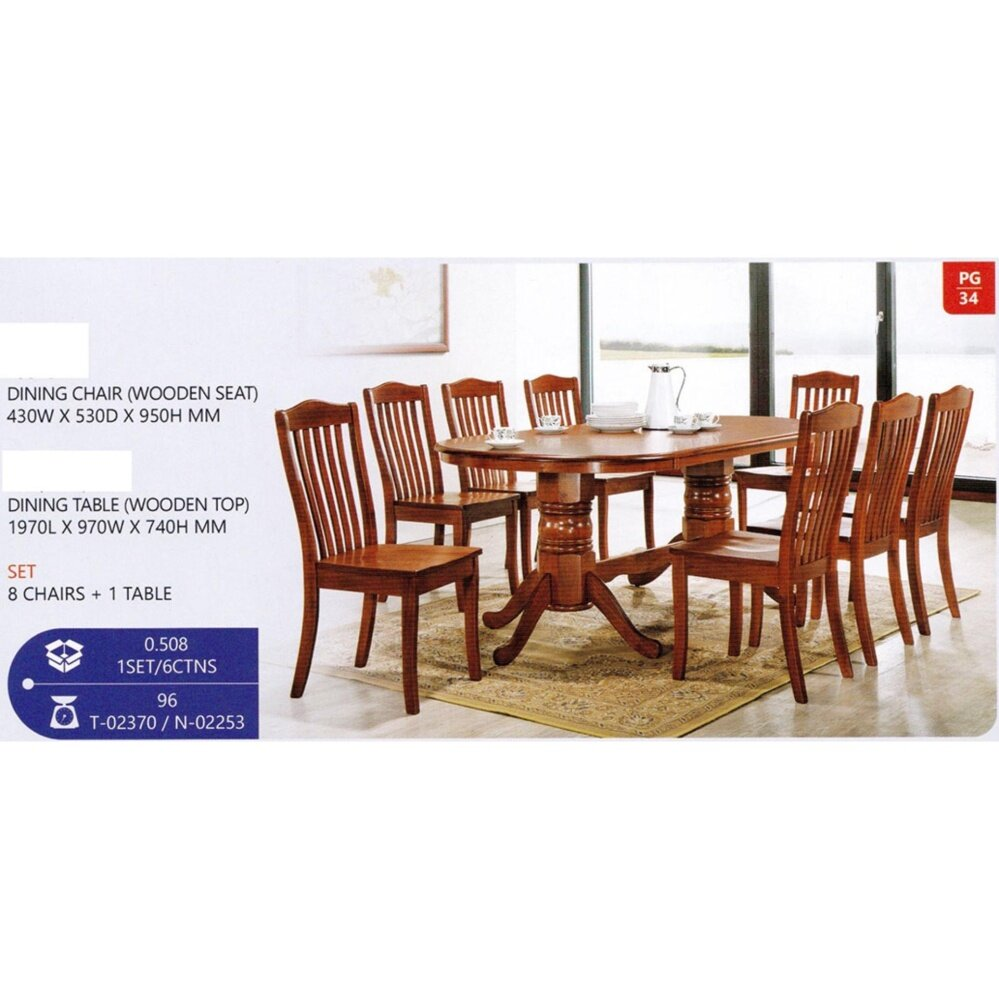 Fully Solid Wood 1 Round Oval Dining Table + 8 Dining Chair Set Pre Order 2 Week