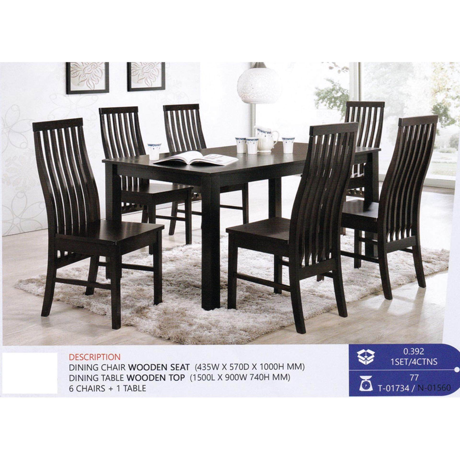 Fully Solid Wood 1+6 Dining Table Chair Set Pre Order 1 Week