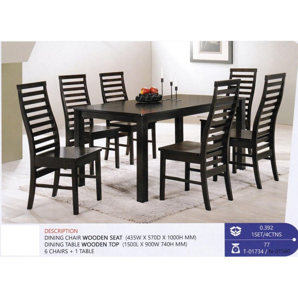 Fully Solid Wood 1+6 Dining Table Chair Set (Walnut Colour)