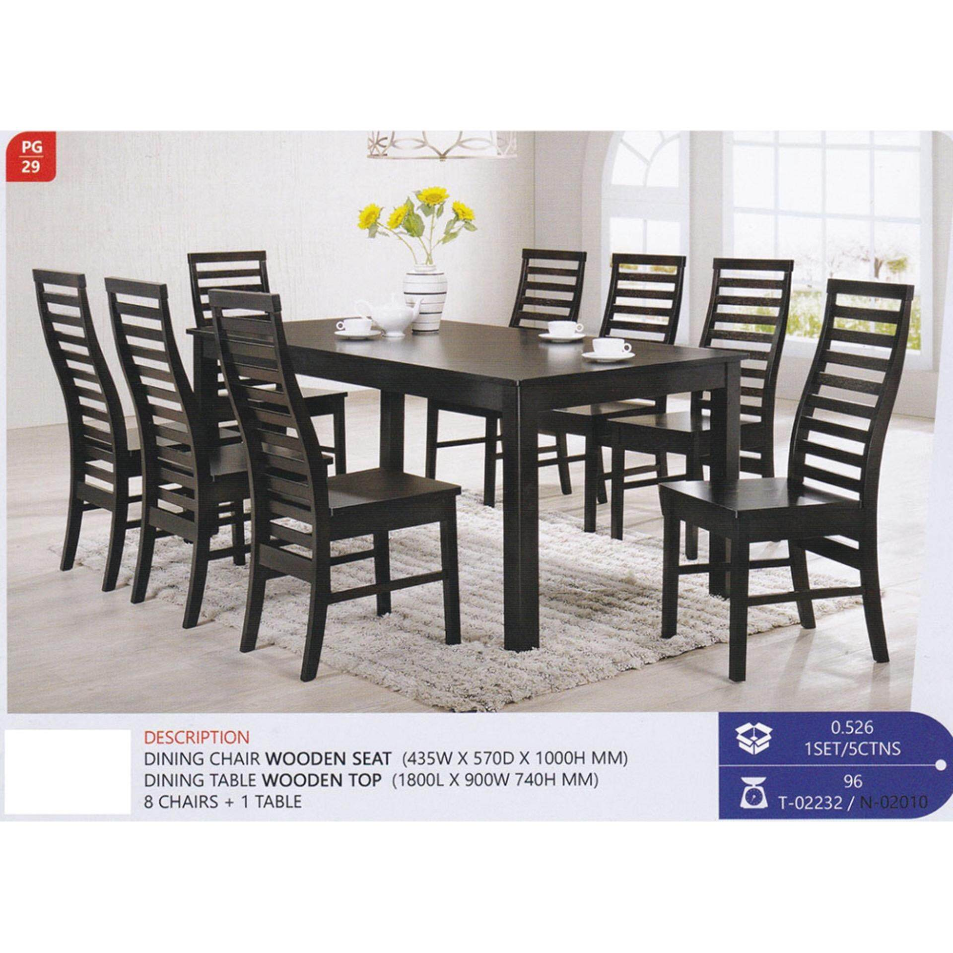 Fully Solid Wood 1+8 Dining Table Chair Set Pre Order 1 Week