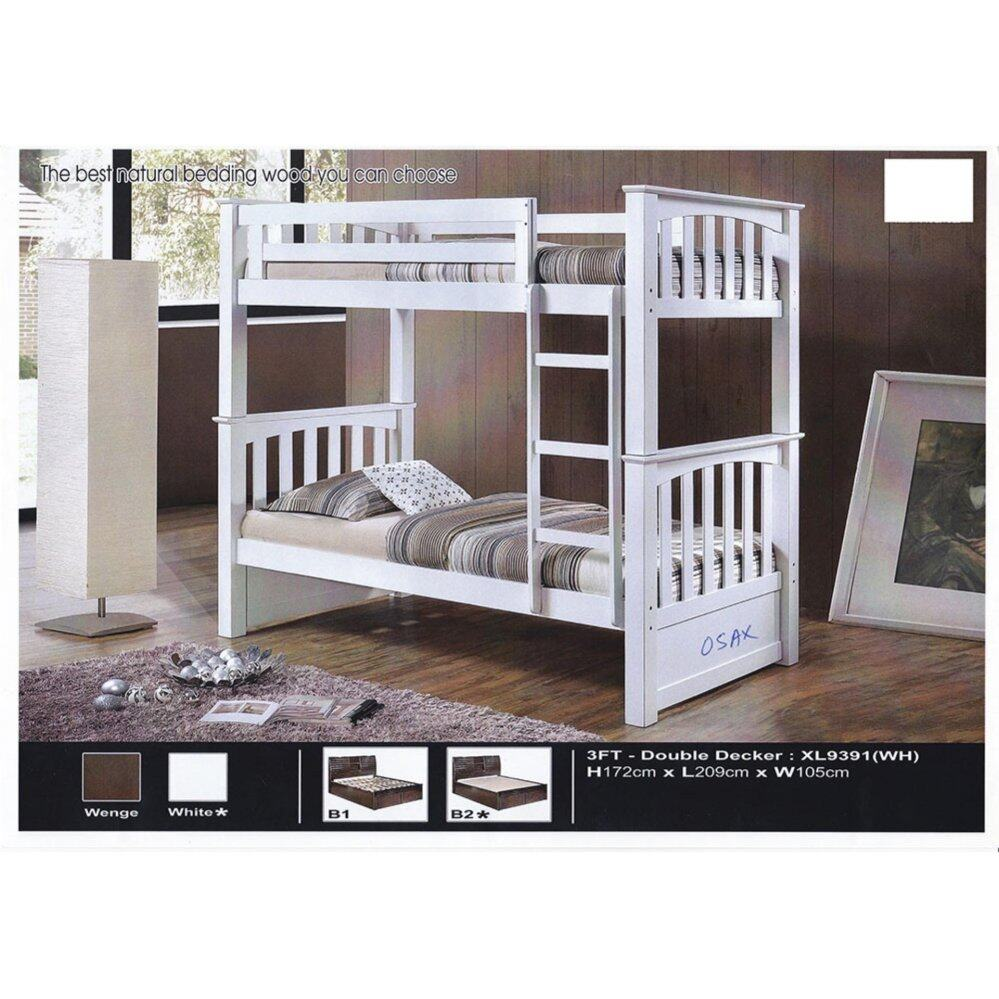 Fully Solid Wood Strong Single Size Double Decker Wooden Bed L2090MM X W1050MM X H1720MM Pre-Order 2 Week