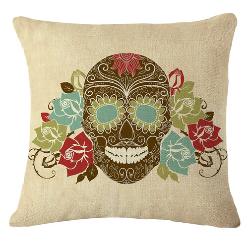 Hình ảnh TOMSOO Skull Pillows Cover Creative Minimalist Geometry Pillows Covers Decorate Nordic Style Sofa Cushion Case M-11 - intl