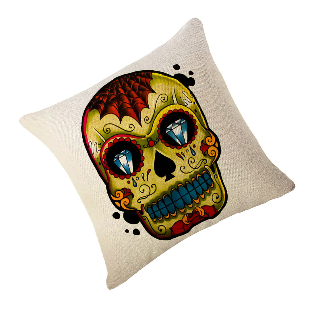 Hình ảnh TOMSOO Skull Pillows Cover Creative Minimalist Geometry Pillows Covers Decorate Nordic Style Sofa Cushion Case M-12 - intl