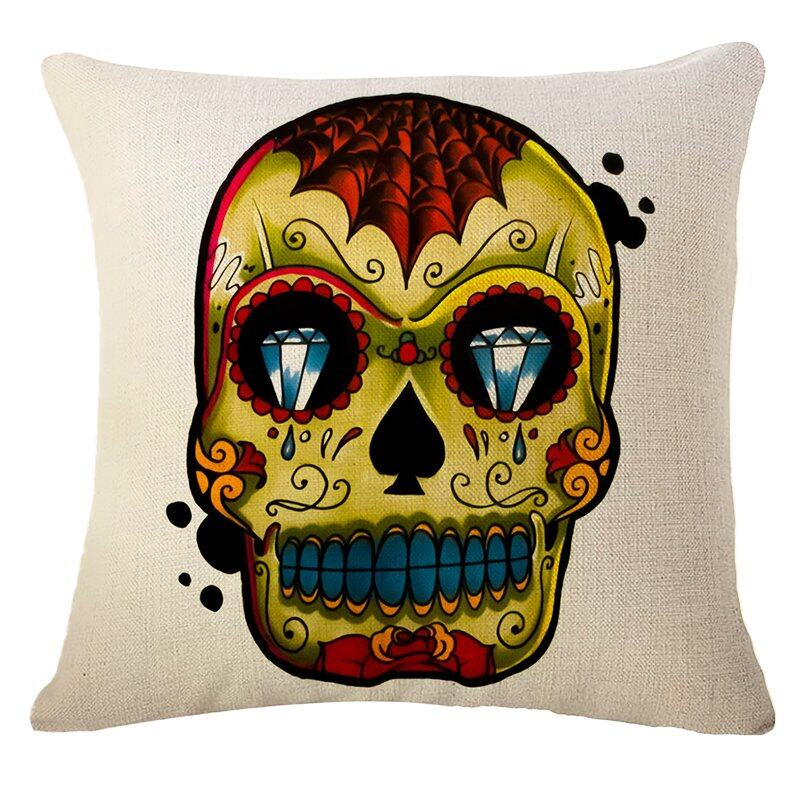 Hình ảnh TOMSOO Skull Pillows Cover Creative Minimalist Geometry Pillows Covers Decorate Nordic Style Sofa Cushion Case M-12 fixed - intl