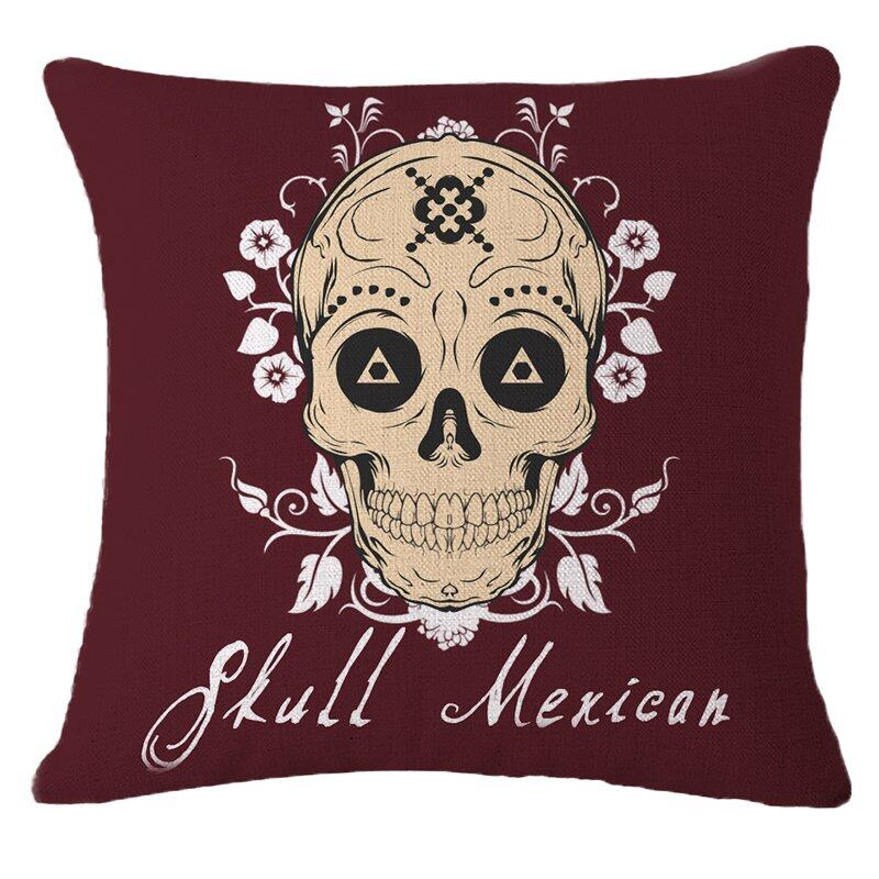 Hình ảnh TOMSOO Skull Pillows Cover Creative Minimalist Geometry Pillows Covers Decorate Nordic Style Sofa Cushion Case M-8 hot-sale - intl