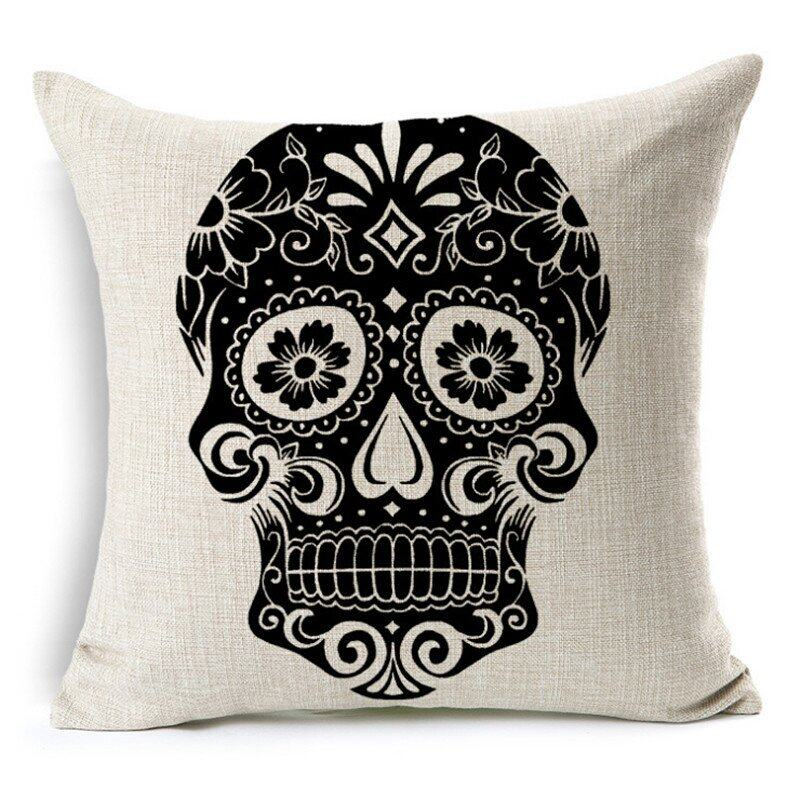 Hình ảnh TOMSOO Skull Pillows Cover Creative Minimalist Geometry Pillows Covers Decorate Sofa Cushion Case M-1 hot-sale - intl
