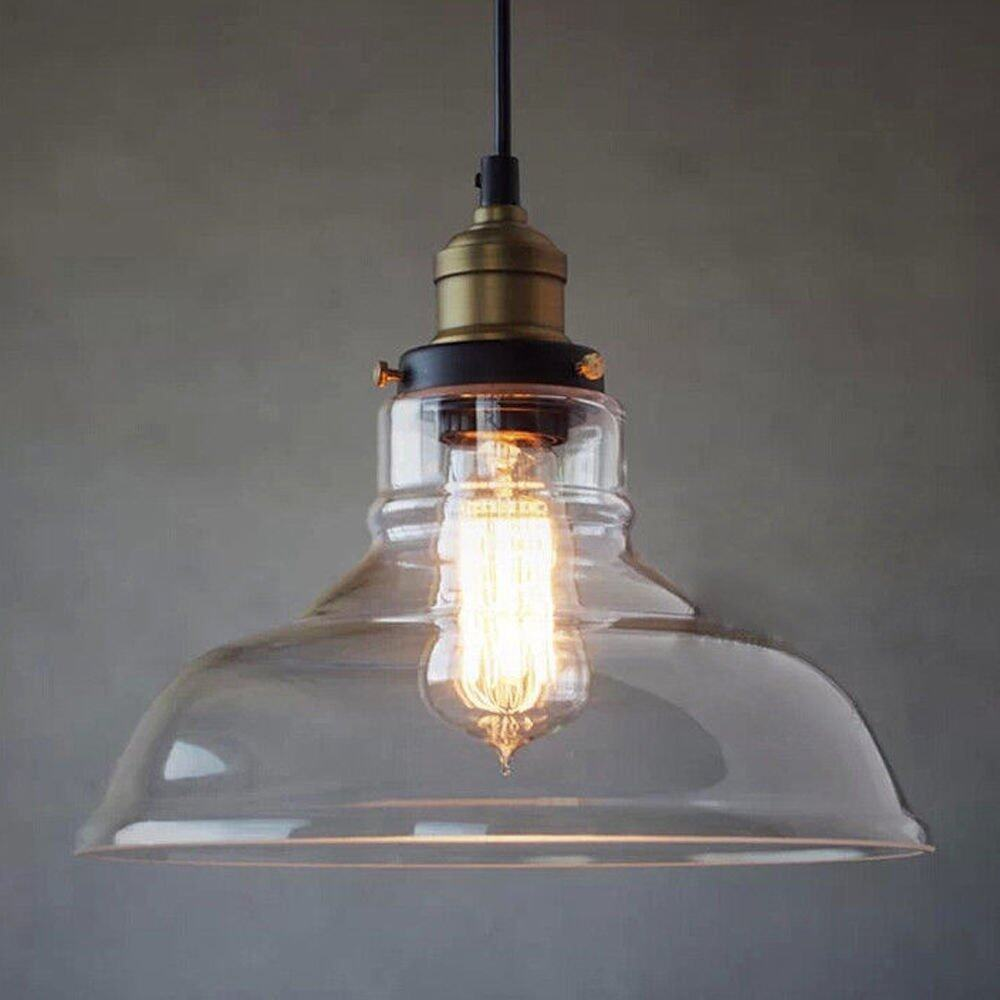 IBERL Vintage Glass Lamp Chandelier Antique Ceiling Pendant Light Lampshade Hanging Fixture With a Bulb fixed - intl Singapore