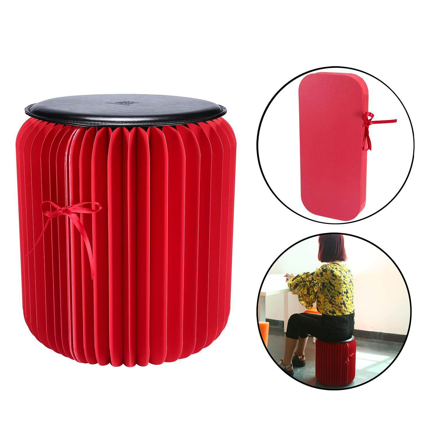 gasfun Flexible Paper Stool,Portable Home Furniture Paper Design Folding Chair with 1pcs Leather Pad,Red+Black Large Size - intl