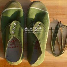 [Genuine Zheng Feng 2-1] liberation shoes dark green military construction site labor safety shoes training canvas shoes