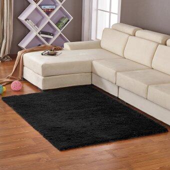 Yika Anti-Skid Shaggy Dining Room Bedroom Fluffy Rugs Carpet Mat 80cm*120cm (Black)