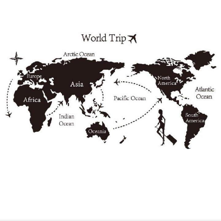 GETEK World Trip Travel Map Wall Stickers Art Vinyl Decal Home Decor Wallpaper Mural (Black)