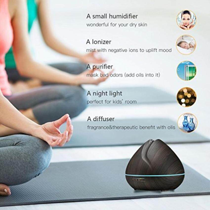 GreatWay 2017 New 400ML Aromatherapy Essential Oil Diffuser, WoodGrain Ultrasonic Aroma Cool Mist Humidifier with