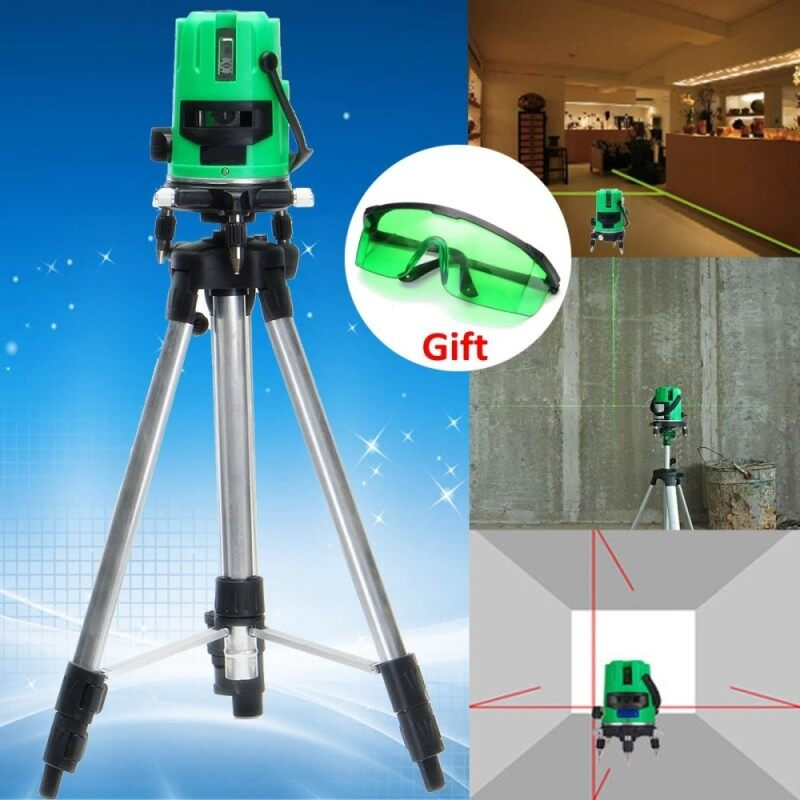 Green 2 Line 2 Points Laser Level 360 Rotary Laser Line Self Leveling with Tripod