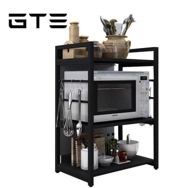 gte 3 layer mutlifunctional wooden oven kitchen microwave oven rack