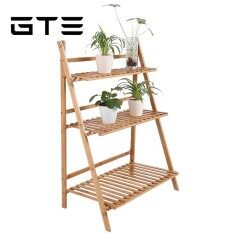 GTE Bamboo Wood Ladder Plant Stand 3-Tier Foldable Flower Display Shelf  Rack Shelves - Fulfilled by GTE SHOP
