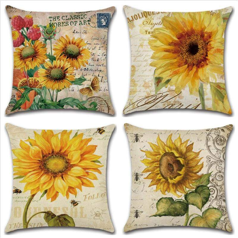 GETEK GZ Set of 4 New Sunflower Painting Throw Sofa Pillow Case Cushion Cover Linen Cotton 45cm*45cm
