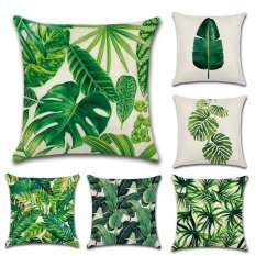 GZ Set Of 6 New Living Tropical Plants Green Leaves Throw Sofa Pillow Case Cushion  Cover