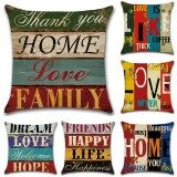 Discount Gz Set Of 6 Vintage Proverbs Mediterranean Hand Drawn Letters Throw Sofa Pillow Case Cushion Cover Linen Cotton 45Cm 45Cm