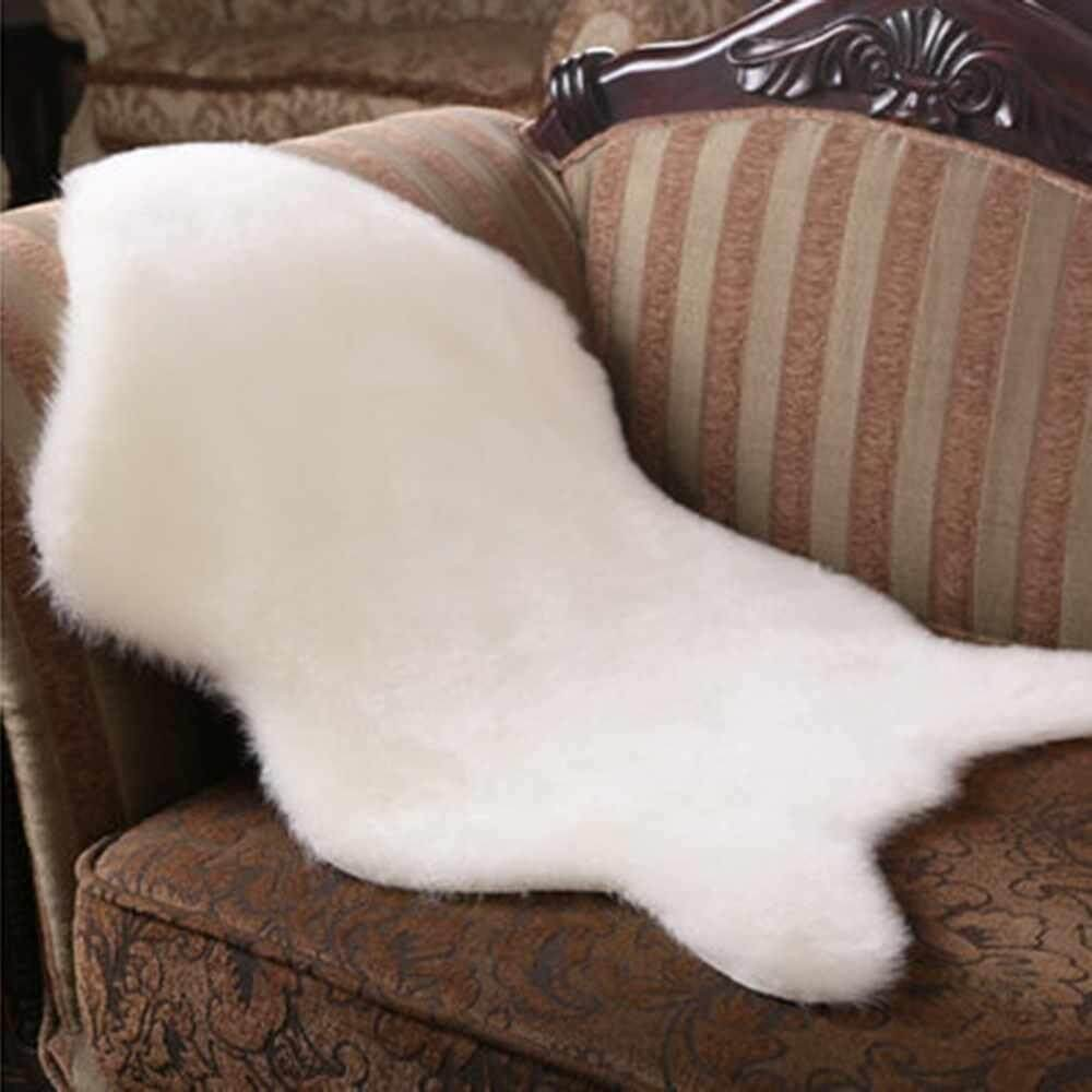 Promo Hairy Carpet Faux Sheepskin Chair Cover Seat Pad Plain Artificial Fur Plain Fluffy Rugs Bedroom Faux Mat Washable Newest Intl