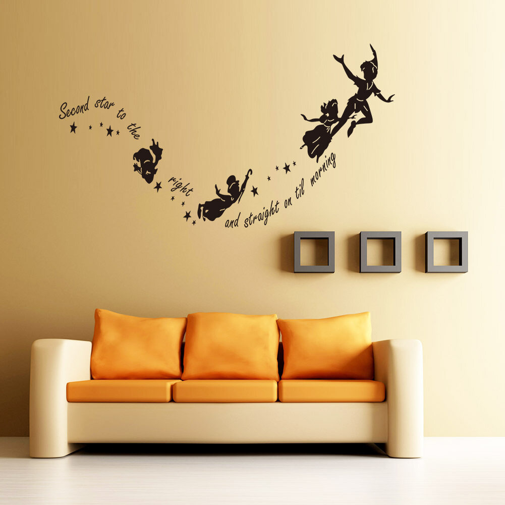 Halloween Creative Flying Witches Home Wall Decal Second Star To The Right Vinyl  Wall Stickers