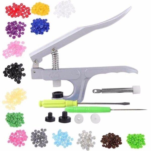 Hand Press Plier + 150 Pcs 10 Colors Snap Fastener 4-Part Buttons Set