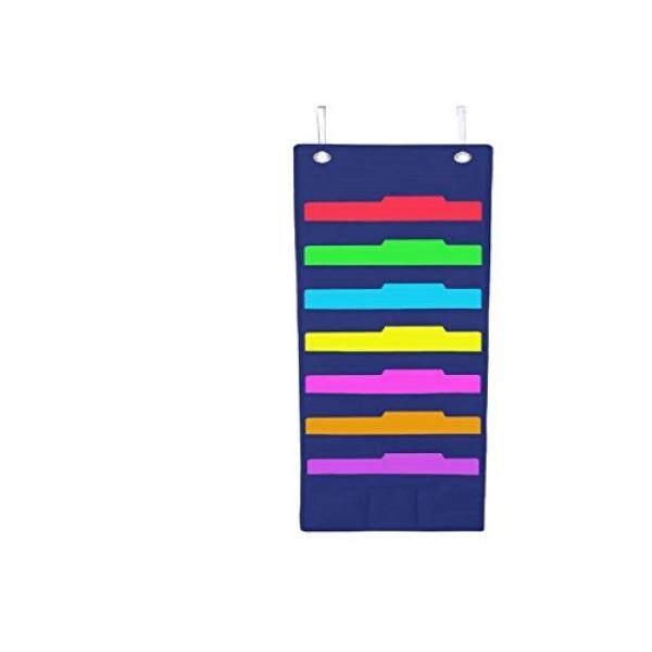 Gantung Map Berkas Cascading Kain Organizer-7 Saku Rumah Sekolah Kantor Kelas Penyimpanan Arsip Vertikal Bagan Kecil-Dinding atau Pintu Dipasang Sistem -Bonus Pensil Saku dan Gantungan Baju (Biru) -Intl