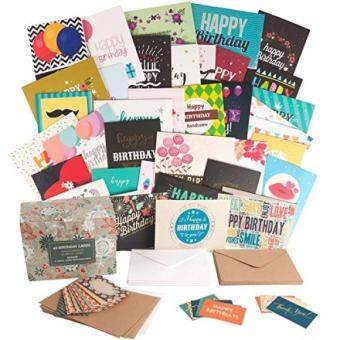 Jualan Happy Birthday Cards Bulk Set With 40 Unique And Envelopes In A Cute Holder Box Generous Size Sturdy Quality