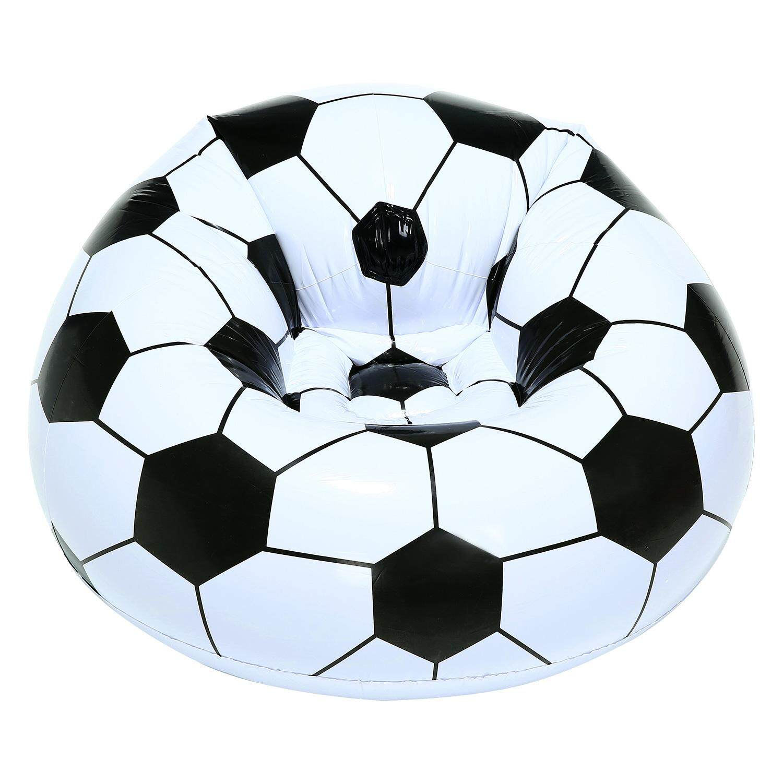 Hazobau Sepak Bola Dapat Diisi Angin Sofa Keren Desain Bean Tas PVC Ramah Lingkungan Berkualitas Tinggi untuk Orang Dewasa dan Anak-anak, hitam + Putih, Kecil-Internasional