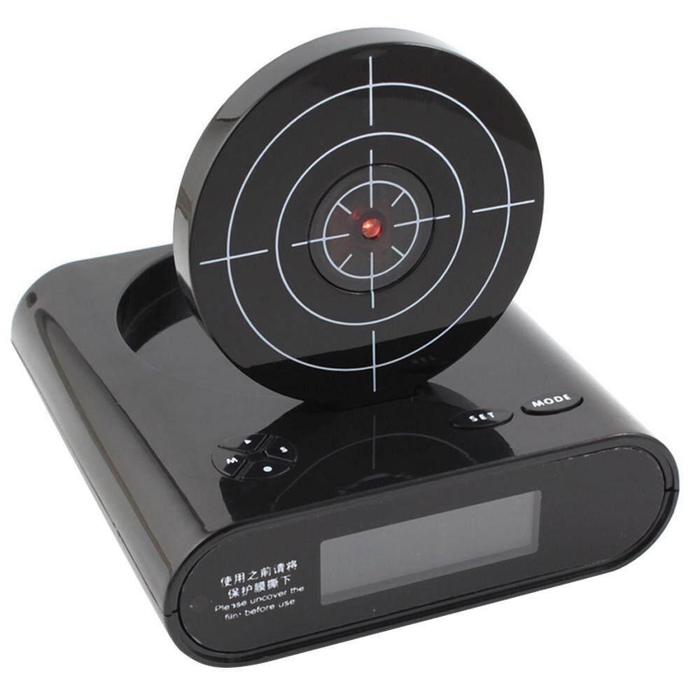 Hazyasm Kesiangan Target Laser Shooting Alarm Jam Dinding dengan LED Tampilan Perekaman Jam Meja, Hijau Tentara-Internasional